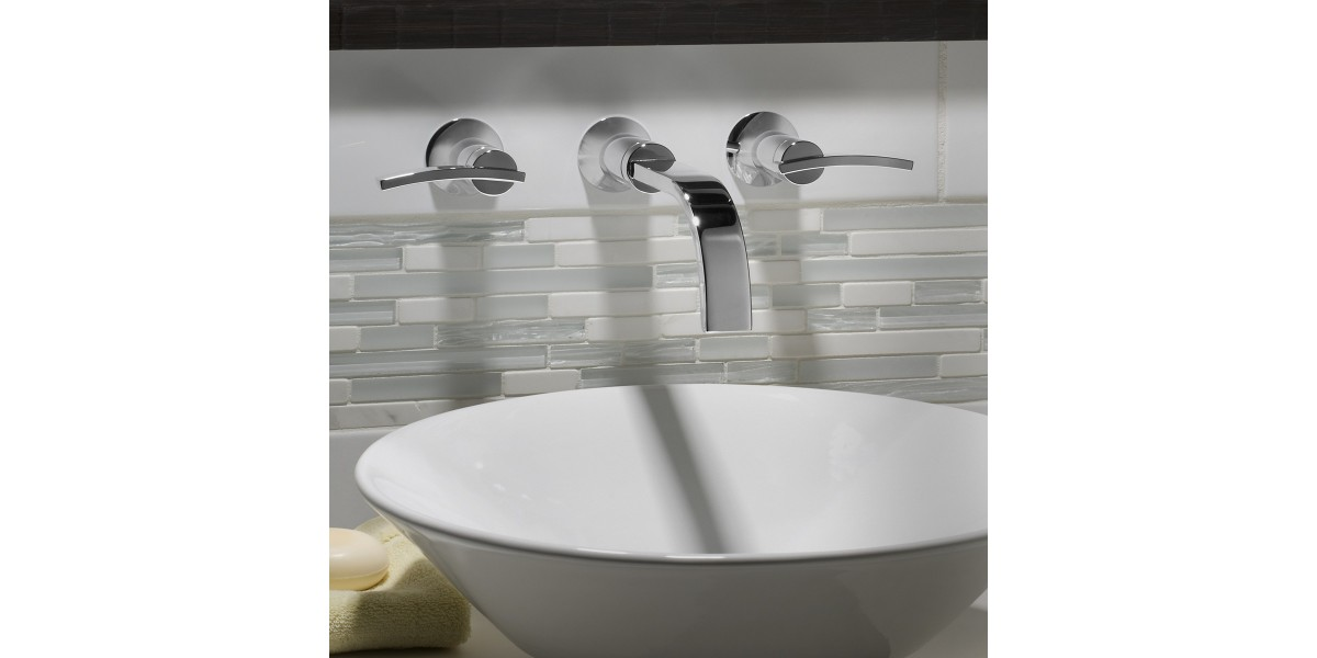 Berwick Wall-Mounted Widespread Bathroom Faucet with Lever Handles - Freire